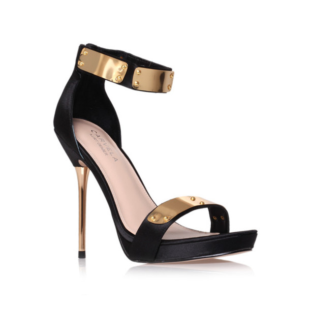Shoes: heels, black, gold, high heels, gold heel, ankle strap ...