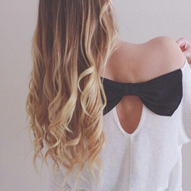 shirt schwarz weiß schleife loop shoulderless