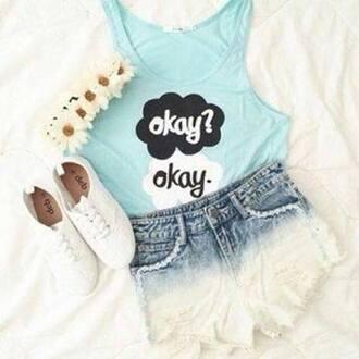 t-shirt okay blue black white blme top shirt okay? okay. tfios light blue