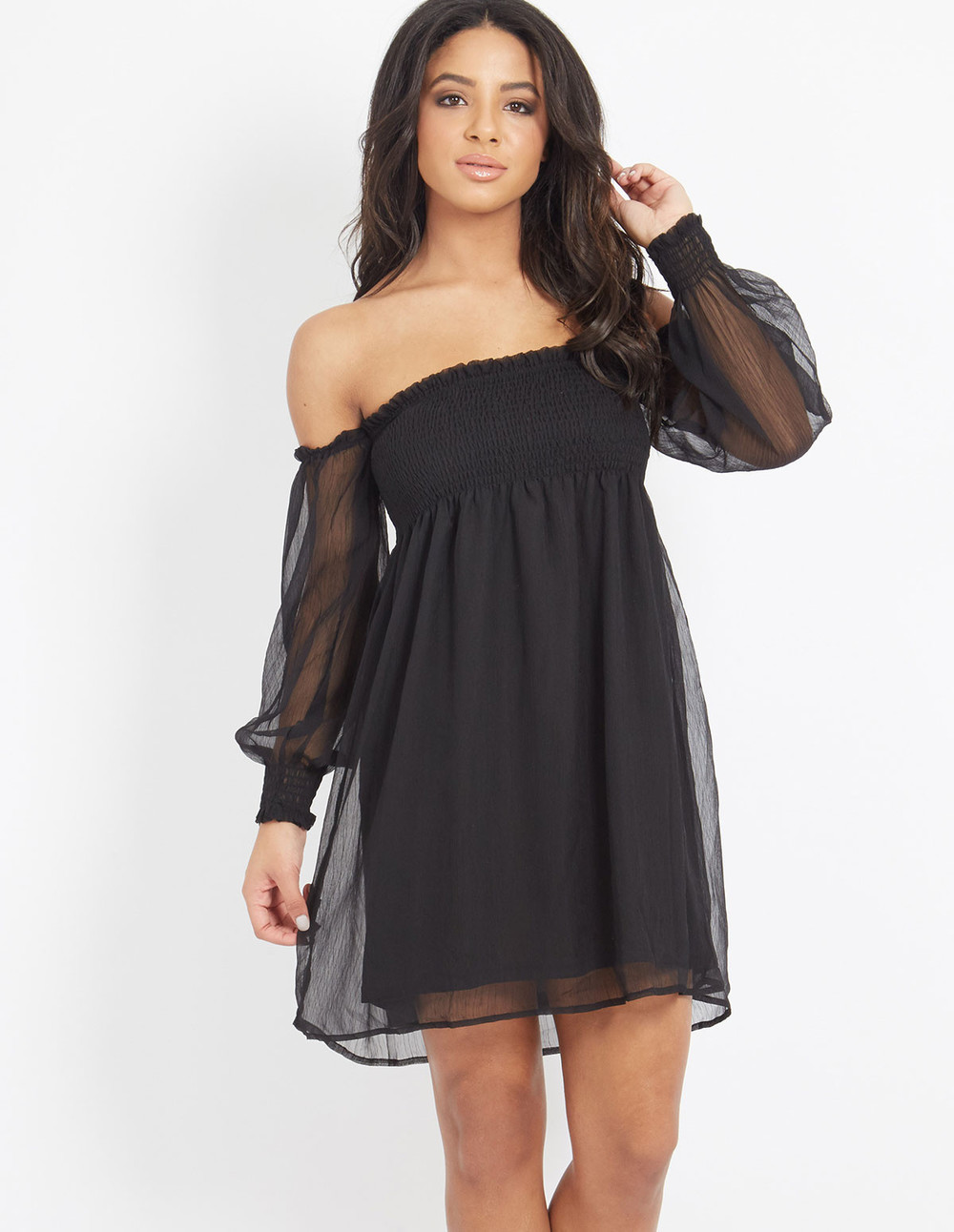 Blue Vanilla CARLOTTA - Bardot Chiffon Dress Black