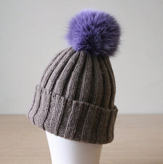 hat beanie pom pom beanie coloured fur casual pom pom beanie hat colour fur pom
