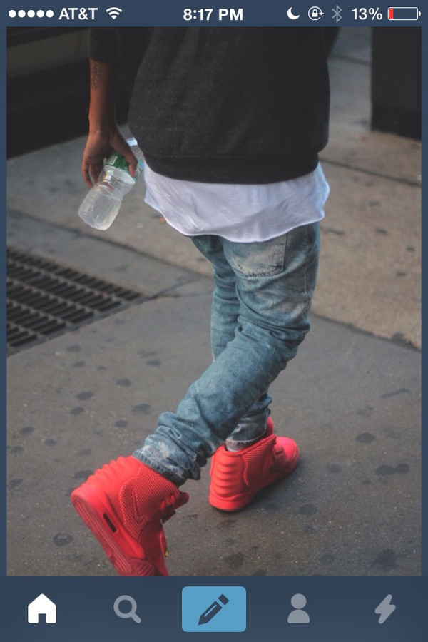 shoes shirt jeans red kanye west