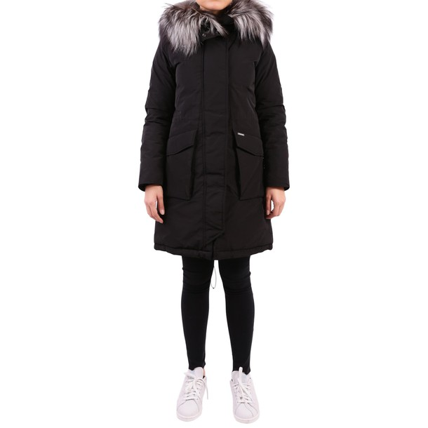 Woolrich parka fur black coat