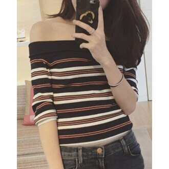 top fashion style stripes off the shoulder sweet women's slash neck striped half sleeve sweater summer cute casual trendy cool rose wholesale dec rose wholesale-dec
