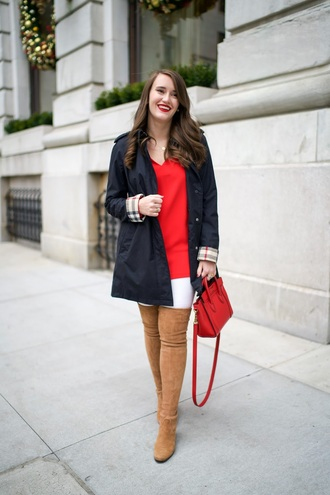 covering bases curvy blogger coat jeans shoes thigh high boots winter outfits red bag handbag