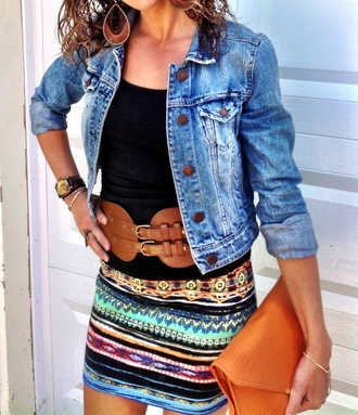 skirt multi mini aztec boho western belt jacket denim jacket jeans faded detailed skirt fall