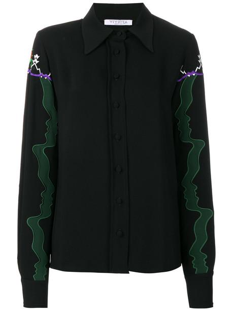 VIVETTA shirt embroidered women black top