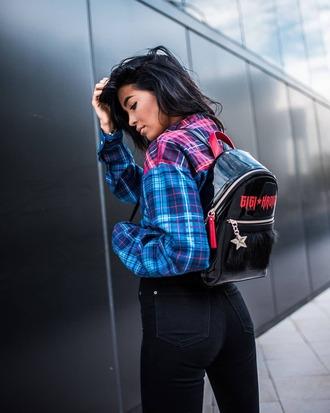 bag black backpack tommy hilfiger shirt plaid plaid shirt tartan denim