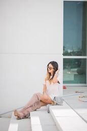 the material girl,blogger,bag,white blouse,mini shoulder bag,chloe bag,thigh high boots,fringe shoes