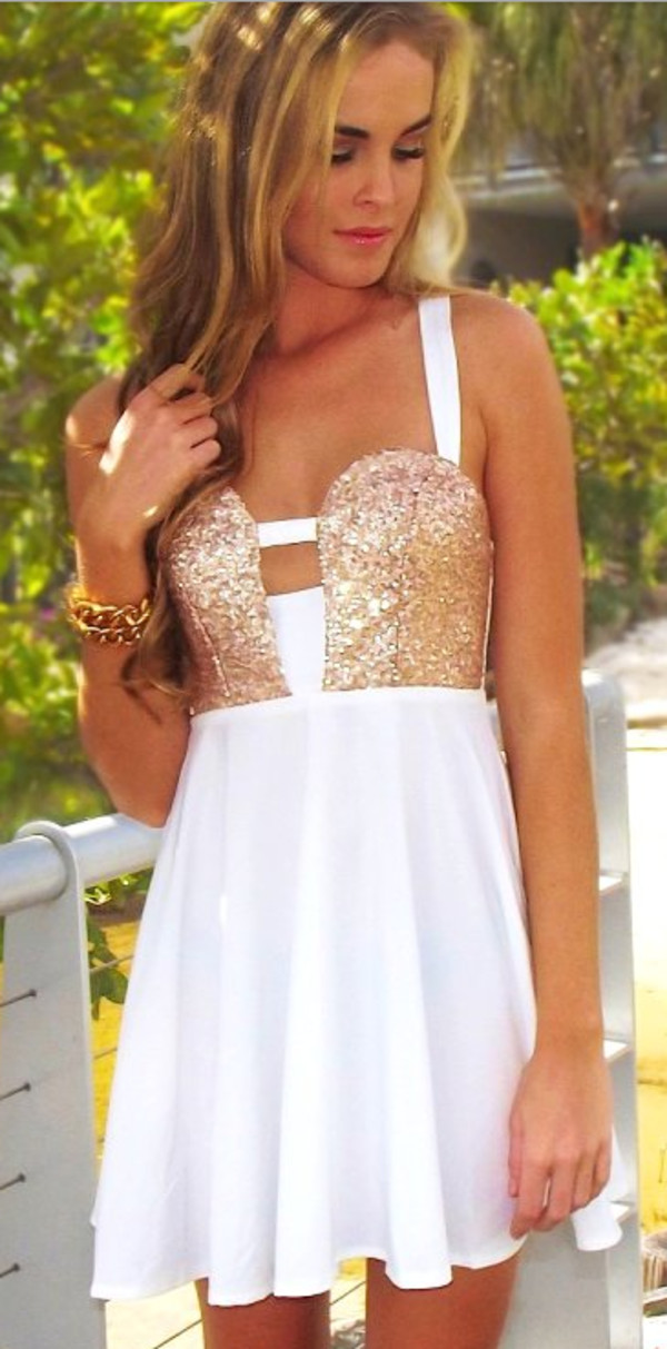 Homecoming Dresses White And Gold - Black Prom Dresses