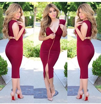 dress shoes nude high heels high heels heels red dress long dress slit dress outfit date outfit summer outfits burgundy dress cute cute dress sexy sexy dress
