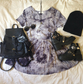 blue dress,midi dress,mini dress,black backpack,black bag,black beanie,beanie,black boots,ankle boots,round sunglasses,summer outfits,dress,grey dress,skater dress,black dress,shoes,tie dye,purple,grunge,summer,spring,cute