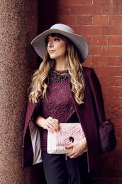 hat,burgundy coat,red baker bag,ted baker hat,fedora,grey hat,felt hat,ted baker,coat,burgundy,bag,pink bag,top,lace top