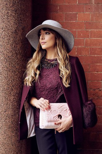 hat burgundy coat red baker bag ted baker hat fedora grey hat felt hat ted baker coat burgundy bag pink bag top lace top