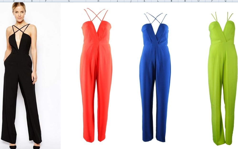 Free Shipping 2014 Fashion  CUT OUT stylish V neck jumpsuit  FT716-in Jumpsuits & Rompers from Apparel & Accessories on Aliexpress.com