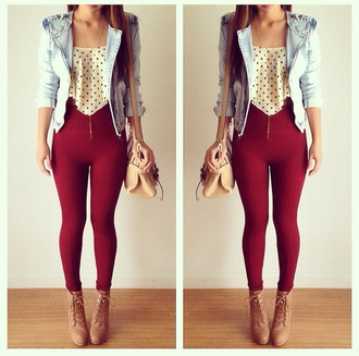 pants red valentines day cute outfit jacket
