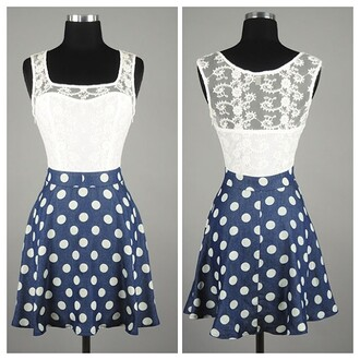 polka dots white lace skater dress summertime dress