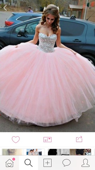 dress pink girly glitter pink dress prom dress quinceanera dress rhinestones sweet 16 dresses sweetheart dress sparkly dress puffy dress gown prom prom beauty sparkle rine stone poofy dress ball gown dress