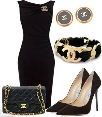 jewels bag dress chanel earrings braclet
