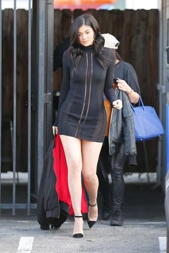 dress kylie jenner black dress long sleeve dress pumps mini dress spring outfits little black dress shoes