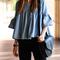 Flare sleeve ruffled blouse|disheefashion