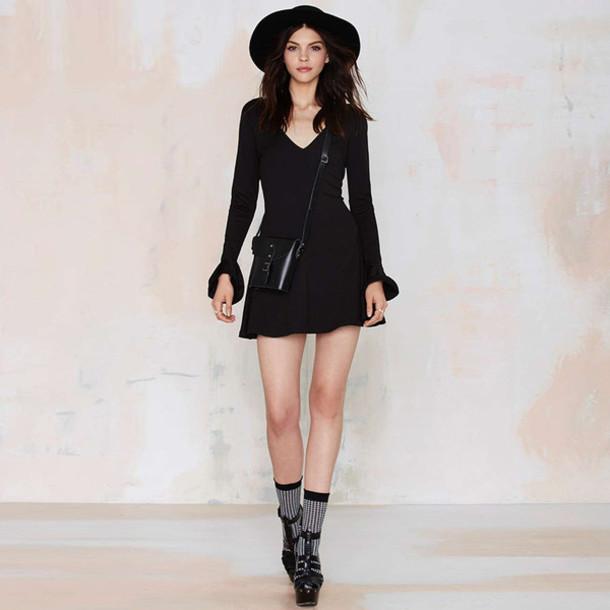 28aed199ae9 dress luulla black dress sexy dress ruffle pretty fashion fashionista style  stylish black and white cute