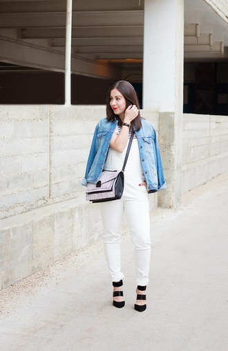 adventures in fashion blogger overalls denim jacket satchel bag