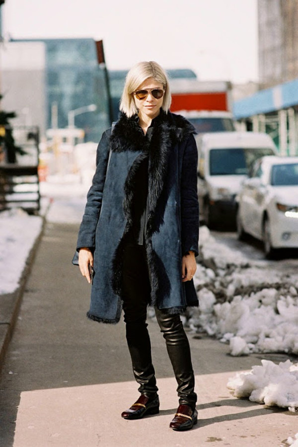 Coat: vanessa jackman, blogger, shearling jacket, petrol, leather ...