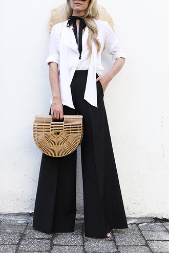 pants tumblr black pants wide-leg pants shirt white shirt bag black and white