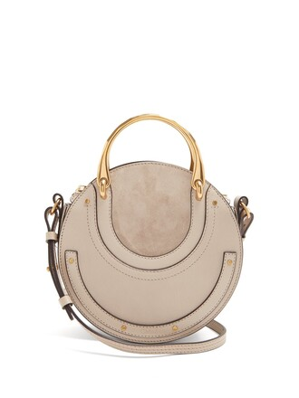 cross bag leather suede light grey