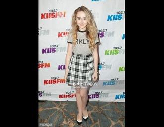 shirt top skirt disney black and white black and white skirt shoes black shoes sabrina carpenter girl meets world plaid skirt
