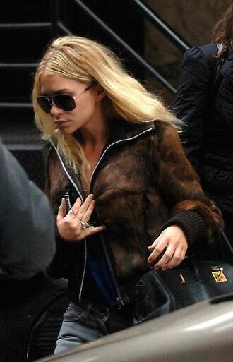 olsen sisters blogger jacket fur aviator sunglasses