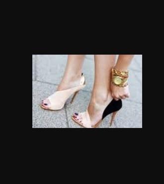 shoes nude black heels colorblock