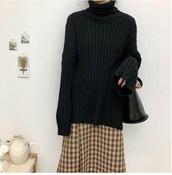 sweater,girly,sweatshirt,jumper,black,knitwear,knit,knitted sweater,oversized sweater,turtleneck,turtleneck sweater