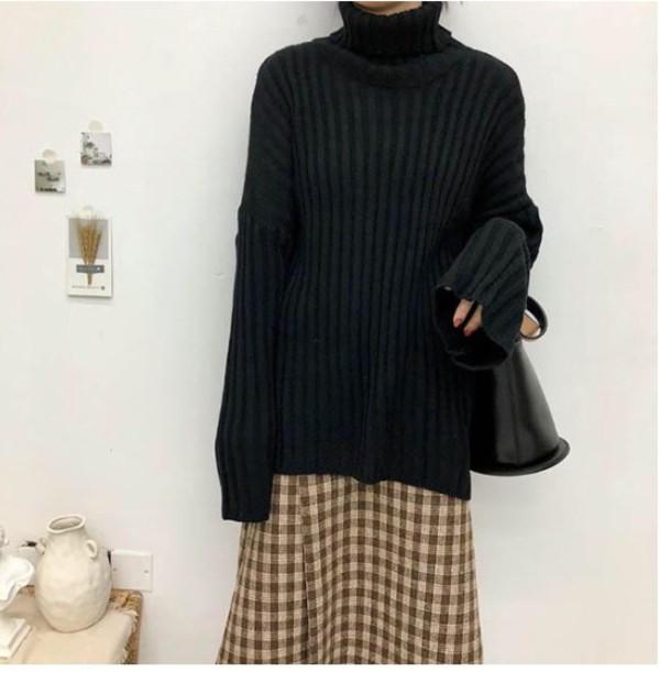 sweater girly sweatshirt jumper black knitwear knit knitted sweater oversized sweater turtleneck turtleneck sweater
