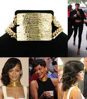 jewels,rihanna,choker necklace,gold,necklace,jewelry