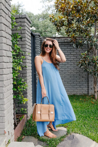 dallas wardrobe // fashion & lifestyle blog // dallas - fashion & lifestyle blog blogger dress shoes bag sunglasses satchel bag summer dress summer outfits blue dress sandals maxi dress