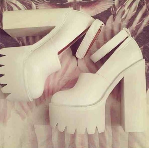 shoes tracks platform shoes high heels chunky grundge fierce edgy white