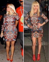 dress,nicki minaj,bodycon dress,party dress,printed dress,multicolor,celebrity