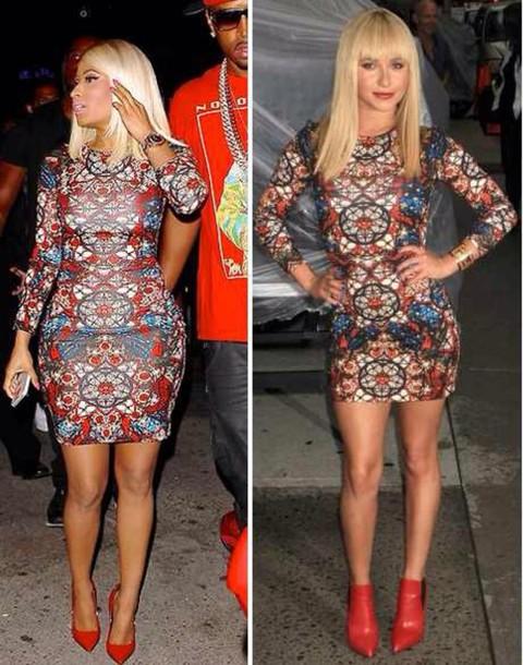 dress nicki minaj bodycon dress party dress printed dress multicolor celebrity