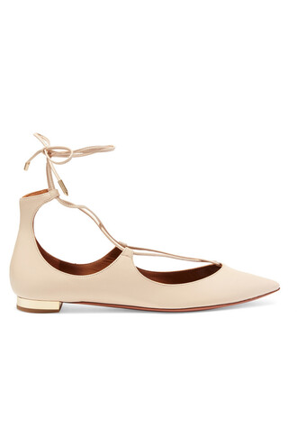flats leather beige shoes