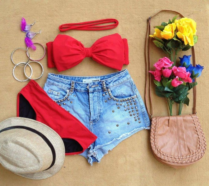 Bow 2 Piece Bikini - Red