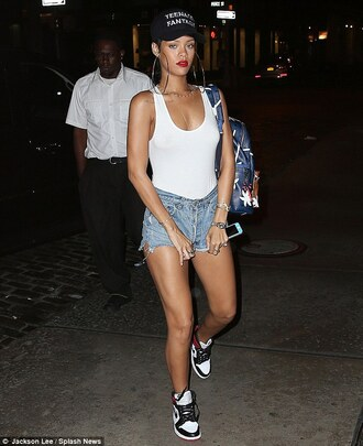 jewels hoop shorts tank top top denim shoes nike cap huge hoops outfit earrings hoop earrings rihanna rihanna style