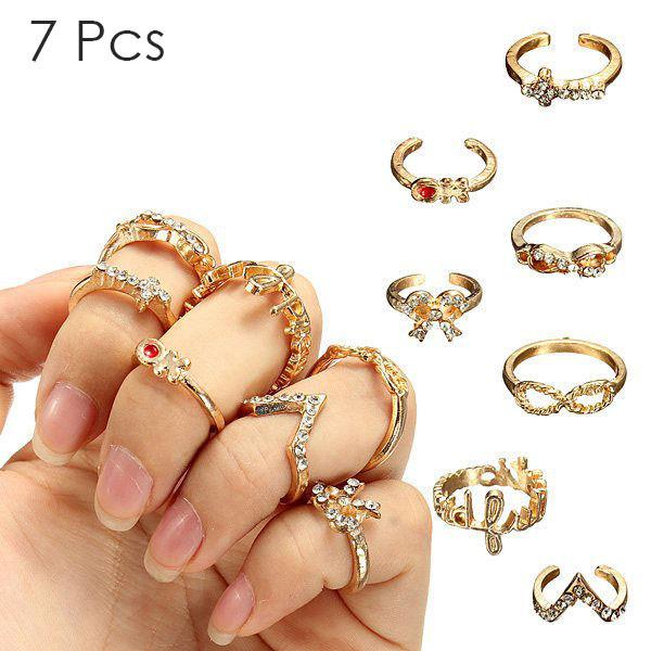 7 gem ring set