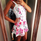 dress,summer,floral,white,pink,flowers,festival,fashion,outfit,style,ootd,ootn,zara,topshop