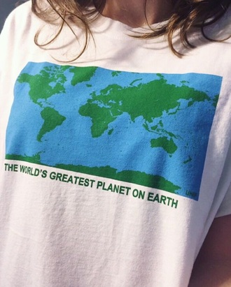 t-shirt graphic tee world blue green white aesthetic