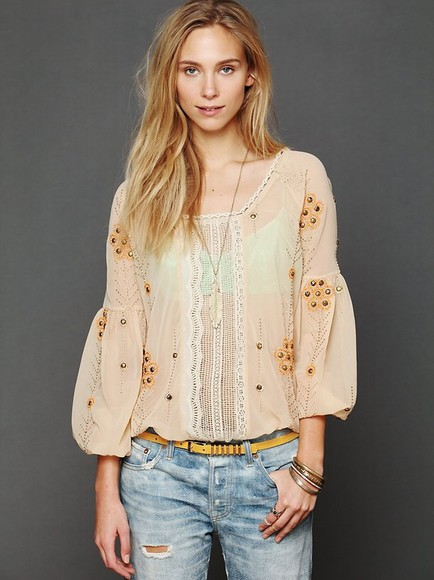 shirt blouse streetstyle jeans i4out fashion look lookbook swag girl clothes rivets shirt chiffon blouse