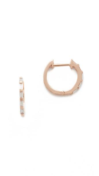 Shay Mini Baguette Diamond Huggie Earrings - Rose Gold/White Diamond