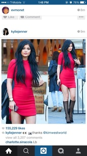 dress,kylie jenner dress,red dress,date dress,shoes,kylie jenner,red,bodycon dress,cute dress,jewels,black,not red,heels,heel boots,black dress,black heels,little black dress,red kyle jenner dress,tight