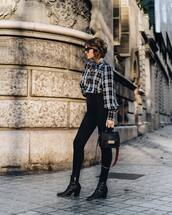top,blouse,checkered,jeans,black jeans,skinny jeans,high waisted jeans,ankle boots,black boots,shoulder bag,mini bag,sunglasses